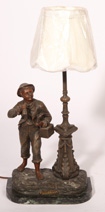 BRONZED FIGURAL DRESSING TABLE LAMP