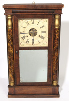 MAHOGANY HALF COLUMN SHELF CLOCK