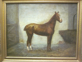 Oil Painting of Horse in Stable
