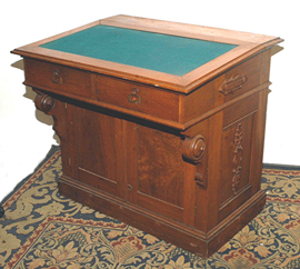 Walnut Victorian Captain's Desk