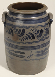Nice Freehand Blue Decorated Stoneware Jar