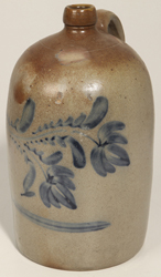 Cobalt Blue Freehand Decorated Stoneware Jug