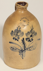 N. Clark, Athens, NY Floral Decorated Stoneware Jug