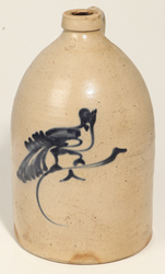 Blue Decorated Bird on Branch Stoneware JugN. Clark, Athens, NY Floral Decorated Stoneware Jug