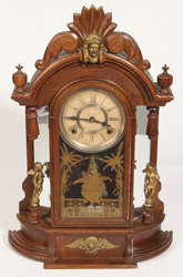 Oak Mantle Clock With Jenny Lind Head & Cupids