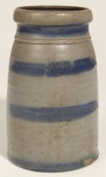 Blue Striped Stoneware Canning Jar