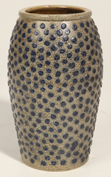 Unusual Blue Dot Decorated Stoneware Jar