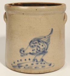 Decorated Stoneware Jar With Blue Pecking Chicken