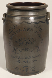 Hamilton & Jones, Greenboro, PA 5 Gallon Stoneware Jar