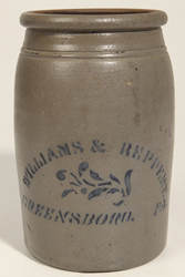 Williams & Reppert, Greensboro, PA Stoneware Jar