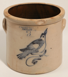 James & Douglas, Portland, ME Stoneware Jar With Bird