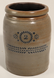 Stoneware 2 Gallon Blue Stenciled Jar