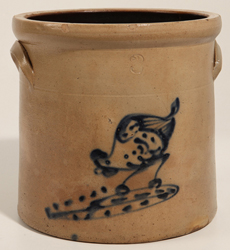 Chicken Pecking Corn Stoneware Jar