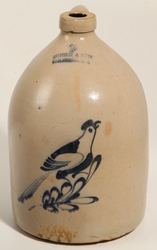 Satterlee & Mory Stoneware Jug With Bird on Branch