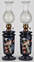 Pair Victorian Enamel Decorated Glass Oil Lamps