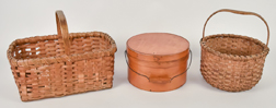 Two Early Baskets & Bentwood Pantry Box