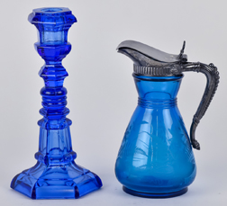 Two Pieces Early American Blue Glass