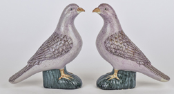 Pair Chinese Porcelain Pigeon Figures