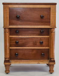 Curly Maple & Mahogany Miniature Chest