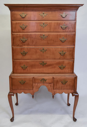 Period Curly Maple Queen Anne Highboy