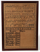 American Birth Record Needlework Sampler