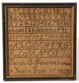 Early American Needlework Sampler by Sarah E. Jewkes