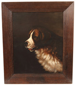 Signed L.W. Chere Oil Painting of Saint Bernard