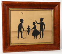 Early Painted Silhouette of Children Playing