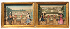 Two 18th Century French Copper Plate Engraving Dioramas