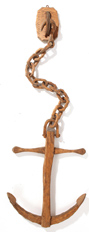 Folk Art Carved Wood Anchor