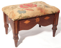 Ohio Folk Art Inlaid Footstool