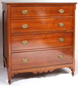 Outstanding Kentucky Inlaid Walnut Sheraton Chest