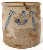 Blue Decorated Stoneware Jar With Bottle Decoration