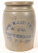 Blue Decorated Jas. Hamilton Stoneware Jar