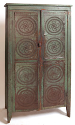 Unusual Early 2 Door Pie Safe With Old Green Paint