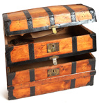 Rare Double Compartment Domed Trunk