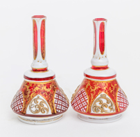 Pair Bohemian Miniature Glass Vases
