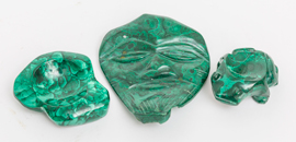 Three Pieces Carved Malachite
