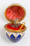 Enameled Victorian Egg Sewing Kit