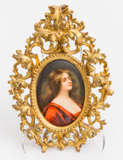 Porcelain Plaque of Lady in Red