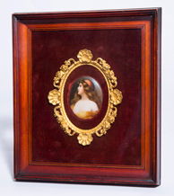 Porcelain Plaque of Lady in Yellow