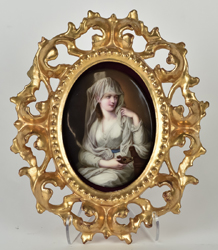 Porcelain Plaque of Lady with Lamp