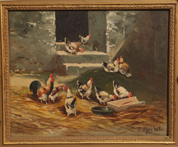 Oil Painting of Chickens by F. Marcher