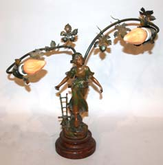 Circa 1900 Figural Newel Post Lamp