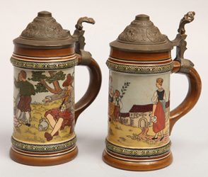 Two German Etched Steins