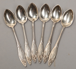 Six Sterling Desert Spoons