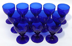 Ralph Lauren Cobalt Blue Glass Goblets
