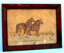 EARLY WATERCOLOR OF HORSES