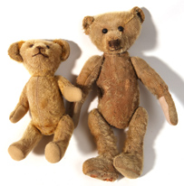 Two Early Straw Filled Teddy Bears