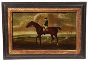 19th Century Reverse Painting on Glass of Horse & Rider